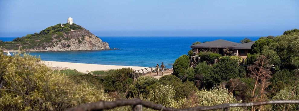 Letecký pohled - Chia Laguna Resort Hotel Baia, Chia, Sardinie