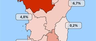 Procentuální zobrazení nakažených v provinciích k 6.5.2020
